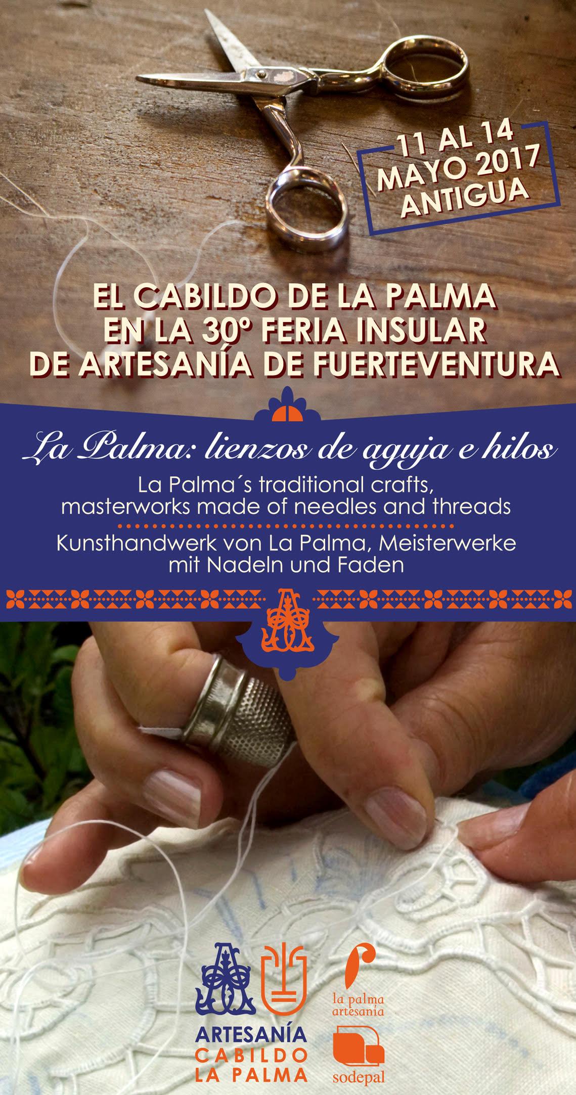 CARTEL LA PALMA EN XXX FERIA INSULAR DE ARTESANIA DE FUERTEVENTURA - LIENZOS DE AGUJA E HILOS