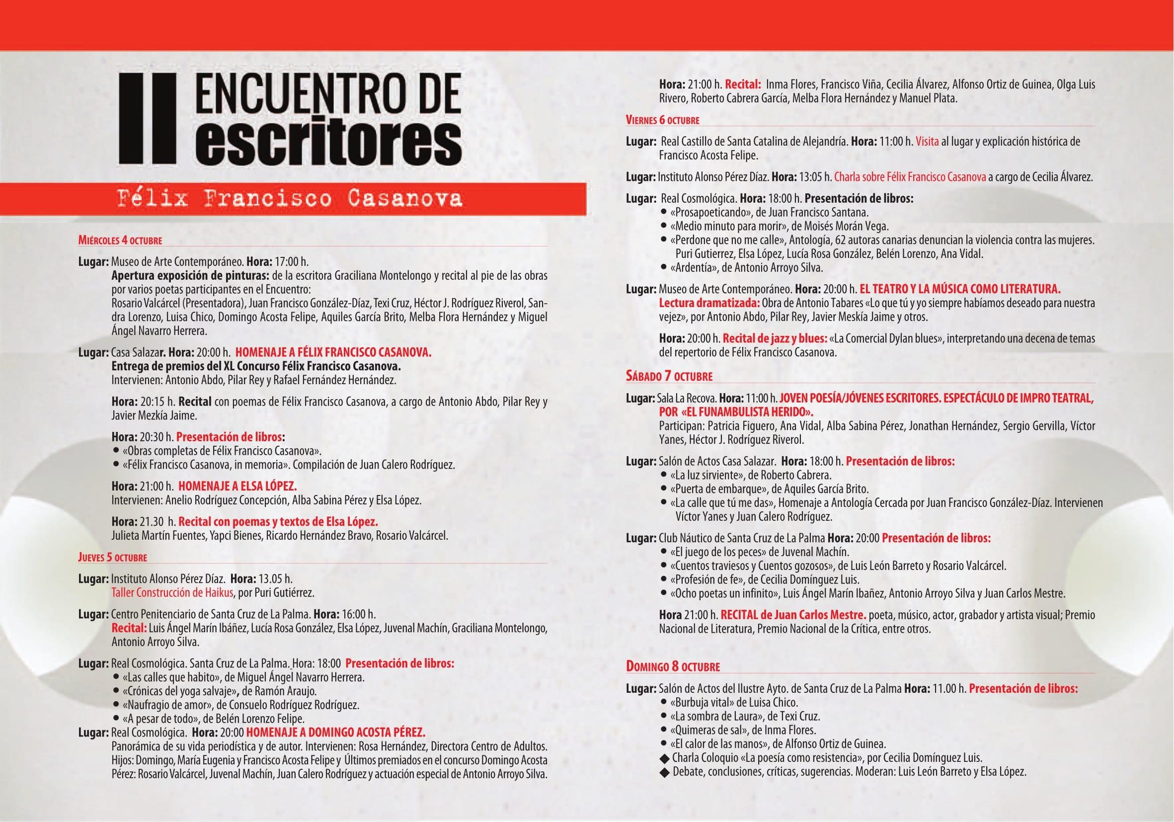II Encuentro de Escritores Felix Francisco Casanova - Diptico