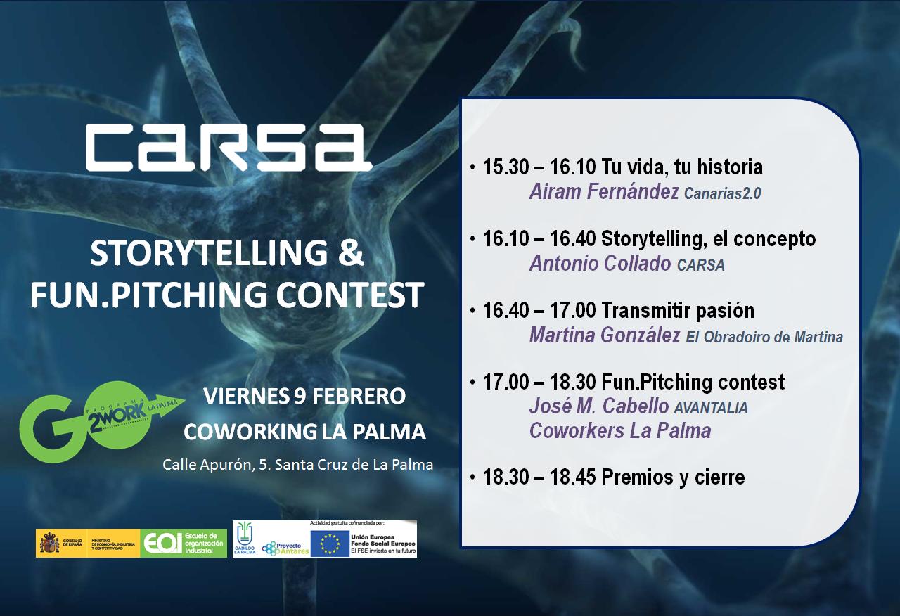 Cartel Jornada Storytelling en Espacio de Trabajo Colaborativo Coworking