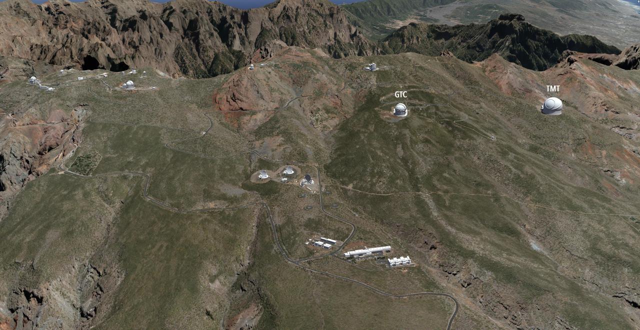 Simulación artística del Observatorio del Roque de los Muchachos, con el TMT y el GTC identificados. Advertised on 13/01/2020