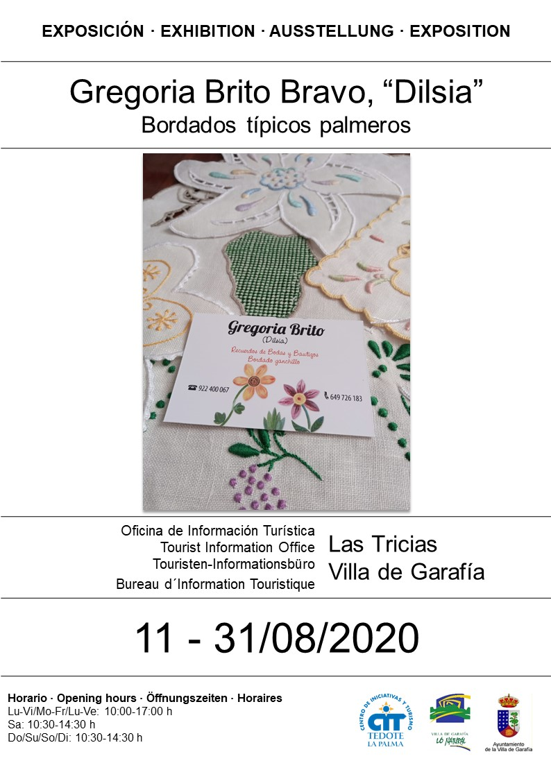 Sala de exposiciones Las Tricias_Dilsia_Cartel_Bordados típicos palmeros_11 al 31 de agosto_2020