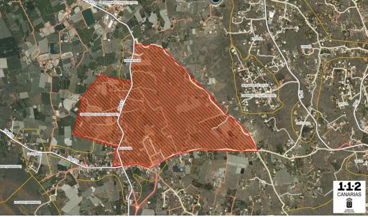Mapa de la zona a evacuar.